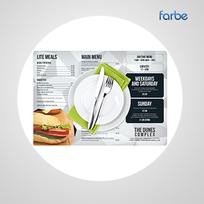 A3 Placemat Menus – Farbe Middle East | Promotional Gifts Supplier
